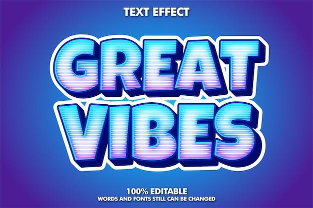 Efeito de texto de adesivo de grande vibração com linha de holograma texto editável em negrito de desenho animado