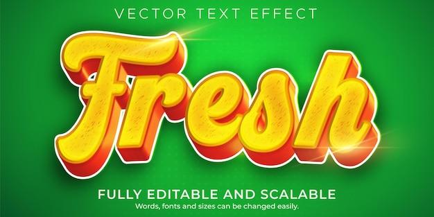 Efeito de texto de alimentos frescos, estilo de texto orgânico verde