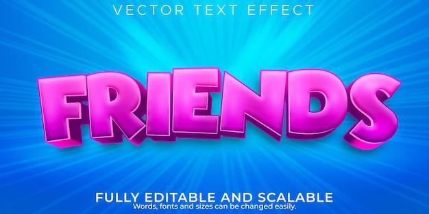 Efeito de texto de amigos crianças, desenho editável e estilo de texto em quadrinhos