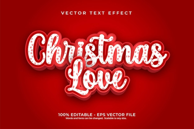 Efeito de texto de amor de natal com padrão
