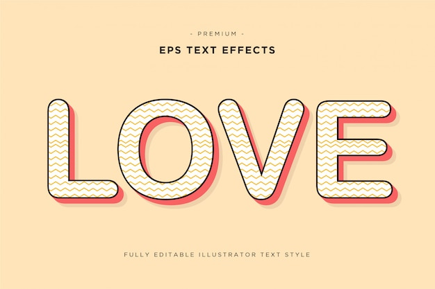 Efeito de texto de amor imprimível