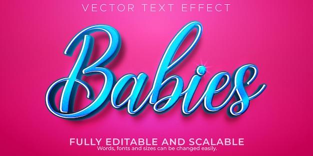 Efeito de texto de aniversário de bebê, casamento editável e estilo de texto suave