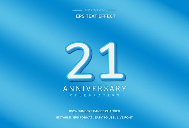 Efeito de texto de aniversário de vinte e um anos, em fundo azul