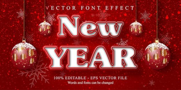 Efeito de texto de ano novo, efeito de texto editável estilo desenho animado