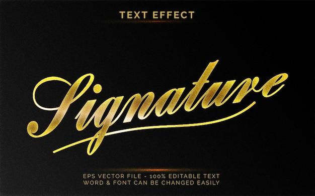 Efeito de texto de assinatura estilo dourado efeito de texto editável