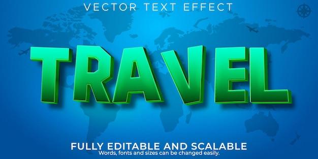 Efeito de texto de aventura de viagem, mundo editável e estilo de texto de viagem