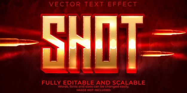 Efeito de texto de bala de tiro, pistola editável e estilo de texto do exército