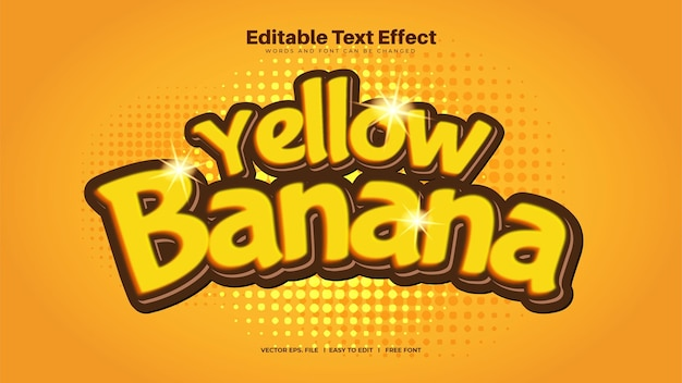 Efeito de texto de banana amarela