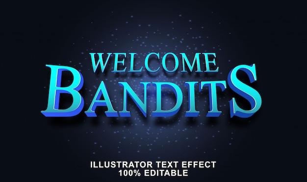 Efeito de texto de bandidos de boas-vindas editável Vetor Premium