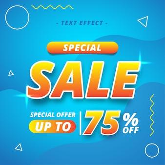 Efeito de texto de banner de venda especial