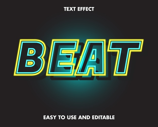 Efeito de texto de batida. fácil de editar e fácil de usar. ilustração vetorial premium