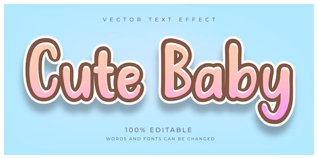 Efeito de texto de bebê fofo