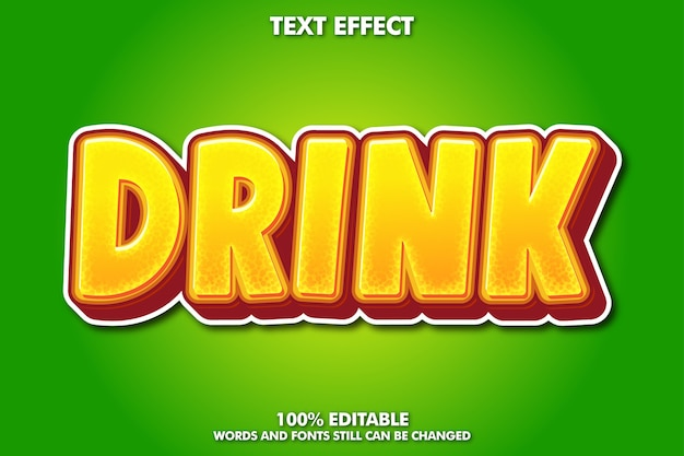 Efeito de texto de bebida, estilo gráfico fresco para produto de bebida