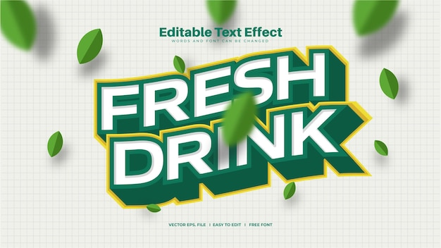 Efeito de texto de bebida fresca