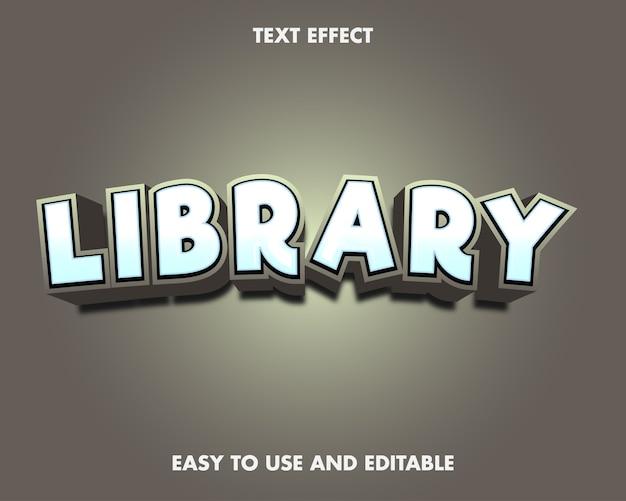 Efeito de texto de biblioteca. estilo de fonte editável.