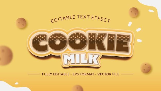 Efeito de texto de biscoito e leite com enfeite de gotas de chocolate