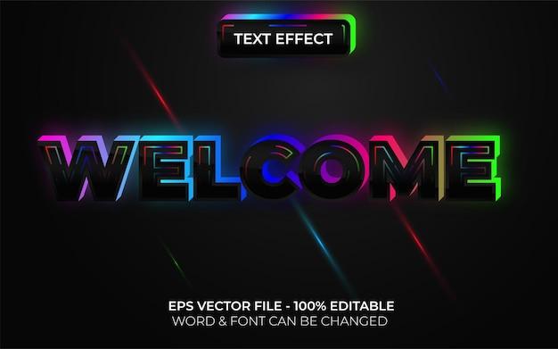 Efeito de texto de boas-vindas estilo neon tema de luz colorida de efeito de texto editável