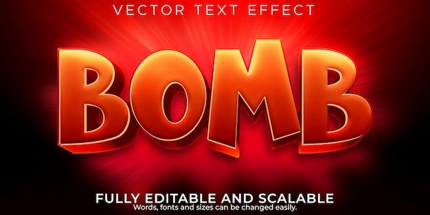 Efeito de texto de bomba, explosão editável e estilo de texto de perigo