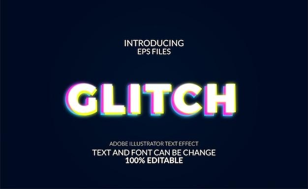 Efeito de texto de brilho dinâmico e distorção de glitch. texto editável e fonte.