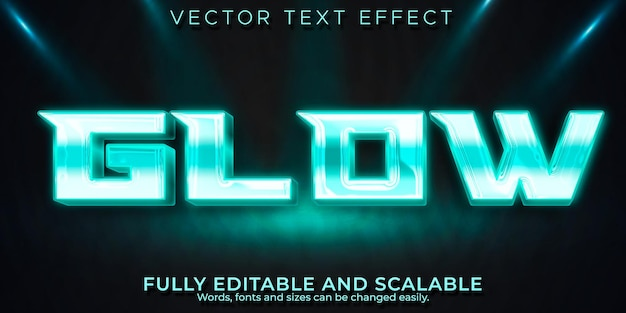 Efeito de texto de brilho neon, estilo de texto editável brilhante e elegante