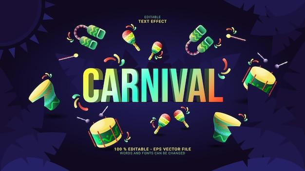 Efeito de texto de carnaval rodeado de instrumentos musicais de samba