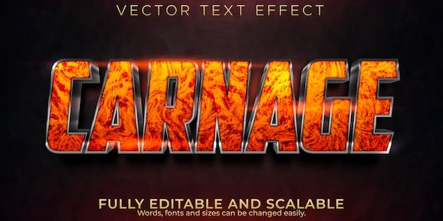 Efeito de texto de carnificina, estilo de texto editável de fogo e inferno