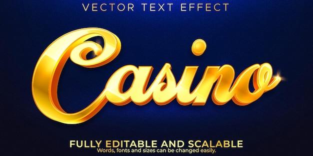Efeito de texto de casino dourado, luxo editável e estilo de texto elegante