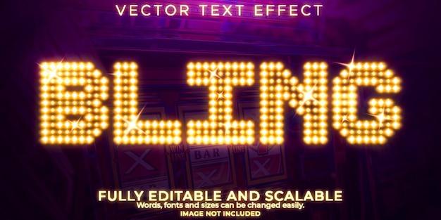 Efeito de texto de cassino que pode ser editado em estilo de texto real e vegas