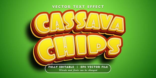Efeito de texto de chips de mandioca com estilo de texto editável