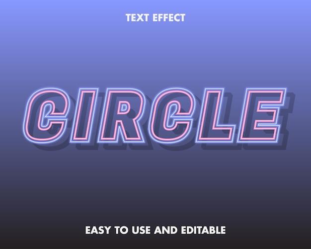 Efeito de texto de círculo de néon