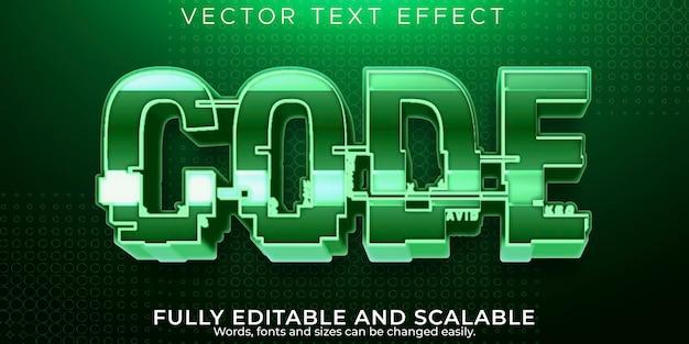 Efeito de texto de código, hacker editável e estilo de texto de segurança