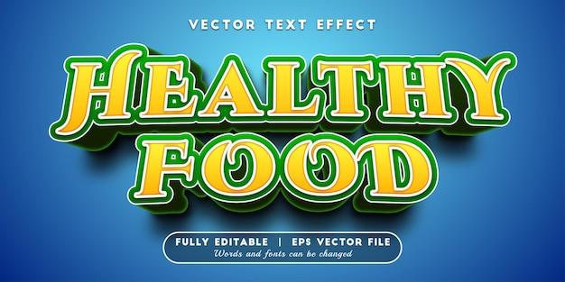 Efeito de texto de comida saudável com estilo de texto editável