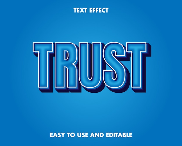 Efeito de texto de confiança. efeito de texto editável e fácil de usar. ilustração vetorial premium