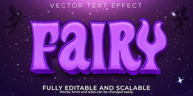 Efeito de texto de conto de fadas, roxo editável e estilo de texto fantasia
