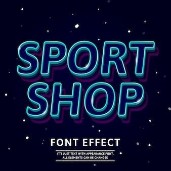 Efeito de texto de contorno de fonte 3d logotipo manchete de loja de esporte