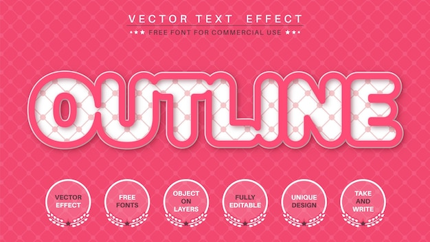Efeito de texto de contorno rosa
