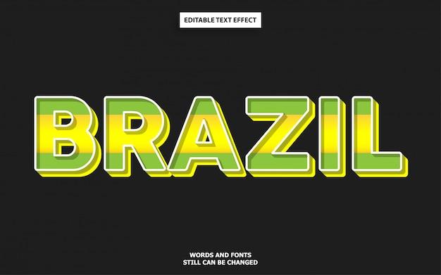 Efeito de texto de cor de bandeira do brasil