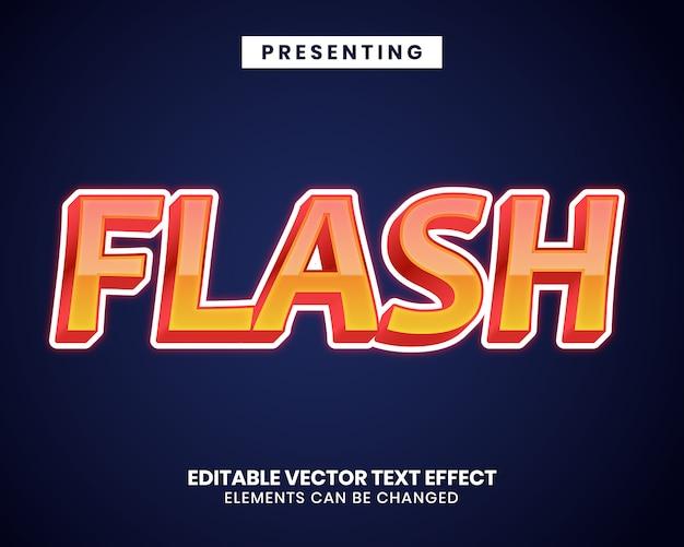 Efeito de texto de cor gradiente 3d com palavra flash