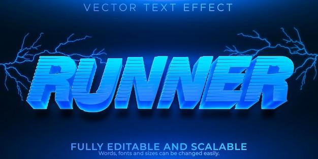 Efeito de texto de corredor, velocidade editável e estilo de texto de corrida