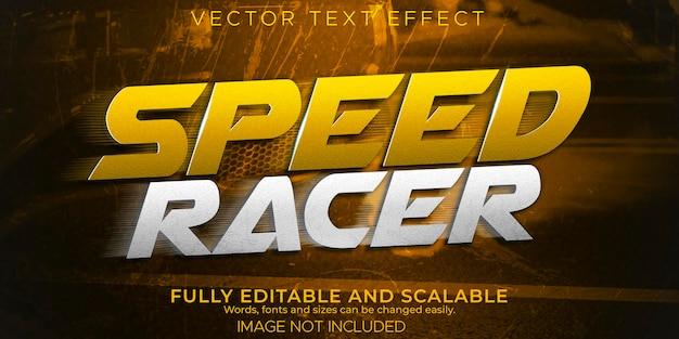 Efeito de texto de corrida de velocidade, estilo de texto editável rápido e esportivo.
