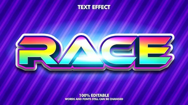 Efeito de texto de corrida legal e divertido texto de corrida colorido forte