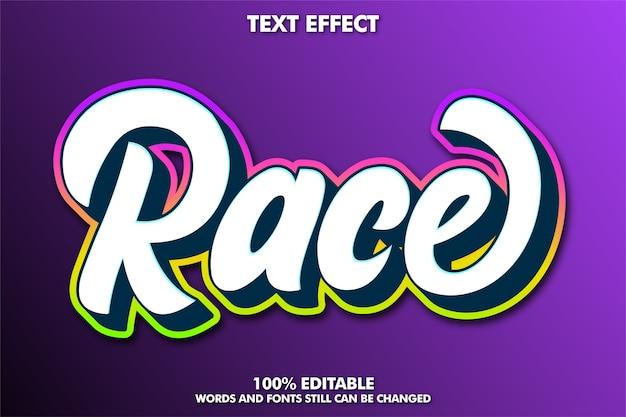 Efeito de texto de corrida moderno para corrida pontual