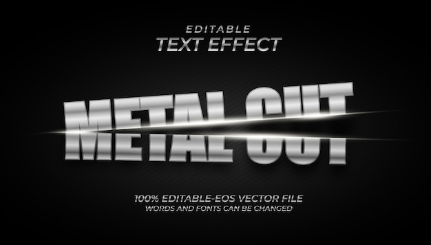 Efeito de texto de corte de metal prateado