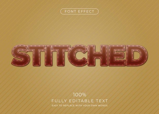 Efeito de texto de couro costurado. estilo de fonte editável