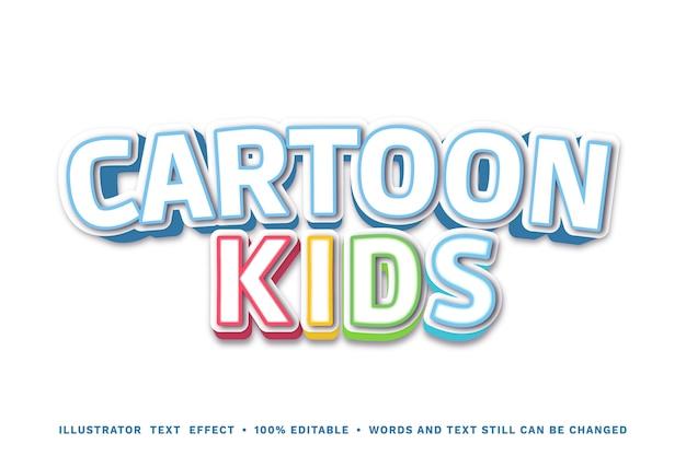 Efeito de texto de crianças dos desenhos animados