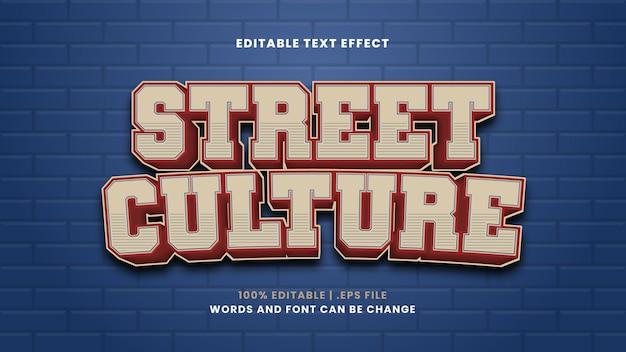 Efeito de texto de cultura de rua em estilo 3d moderno