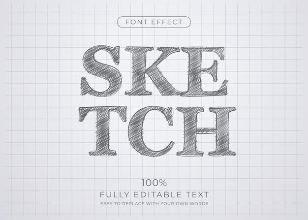 Efeito de texto de desenho a lápis. estilo de fonte editável