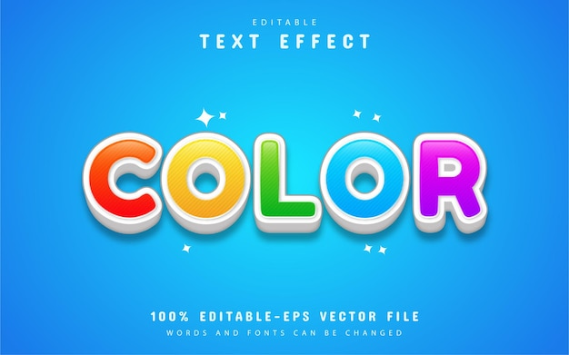Efeito de texto de desenho animado colorido