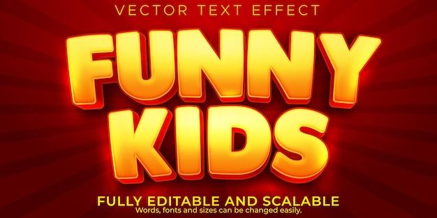 Efeito de texto de desenho animado, crianças editáveis e estilo de texto escolar
