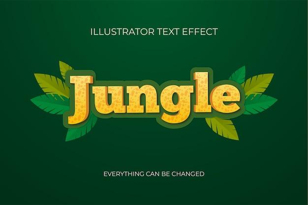 Efeito de texto de desenho animado da selva